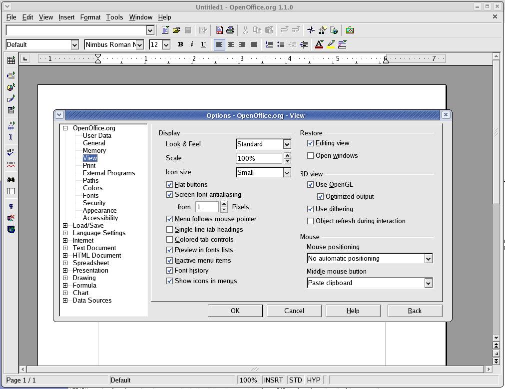 Native Widget Framework for OpenOffice org